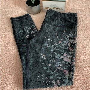 Maurices In Motion high waist gray floral leggings